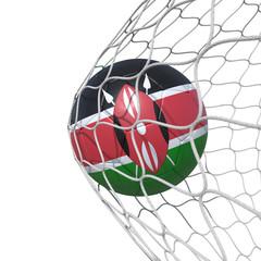 Kenya Kenyan flag soccer ball inside the net, in a net.
