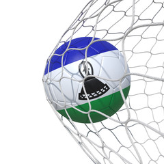 Lesotho flag soccer ball inside the net, in a net.