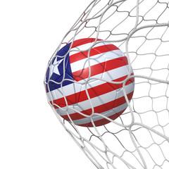 Liberia Liberian flag soccer ball inside the net, in a net.