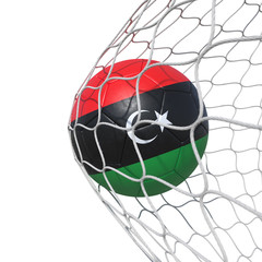 Libya Libyan flag soccer ball inside the net, in a net.