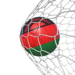 Malawi Malawian flag soccer ball inside the net, in a net.