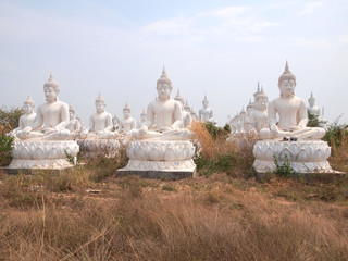 Sakeaw ,Thailand  - March 29 , 2015 : Row of White Buddha statue on the field for worship.