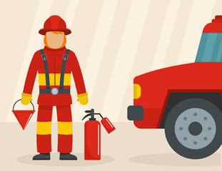 Firefighter with car concept. Flat illustration of firefighter with car vector concept for web