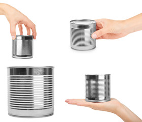 set of different aluminum container can with hand. Isolated on white background