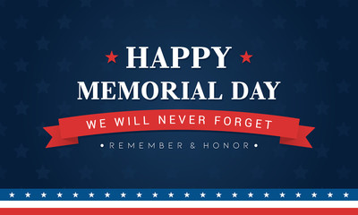 Happy Memorial Day Banner Vector illustration. Typography on blue star pattern background.