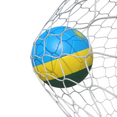 Rwanda Rwandan flag soccer ball inside the net, in a net.