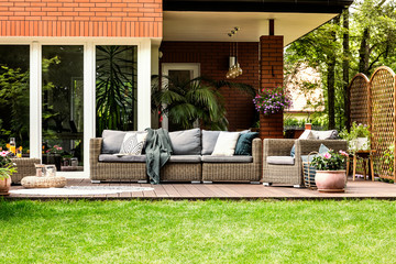 Garden furniture in the summer