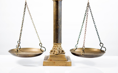 Law symbols on bright background.  Scale of justice