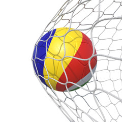 Seychelles Seychellois flag soccer ball inside the net, in a net.