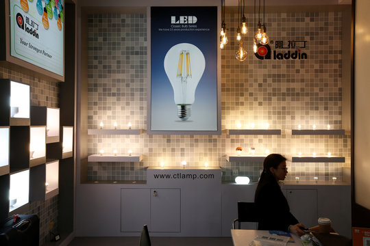 China made LED light bulbs are displayed at a booth during a lighting fair in Hong Kong