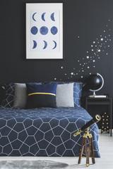 Telescope in navy blue bedroom