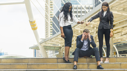 group women people business feel angry and point hand to business stressed man