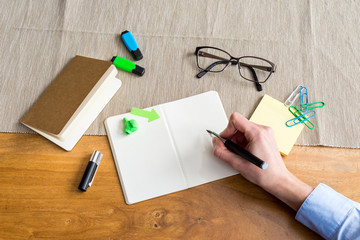 Empty notebook with copy space and hand as flat lay and template