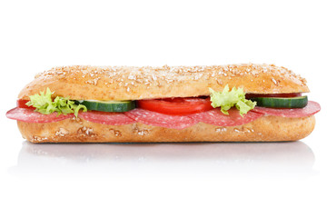Sub sandwich with salami whole grains grain baguette lateral isolated on white