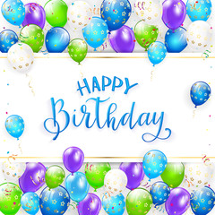 Blue lettering Happy Birthday with balloons and streamers