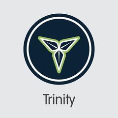 Trinity Cryptocurrency. Vector TTY Web Icon.