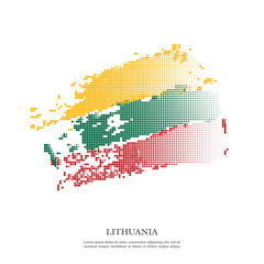 Lithuania flag with halftone effect, grunge texture. Isolated on white background. Vector illustration.