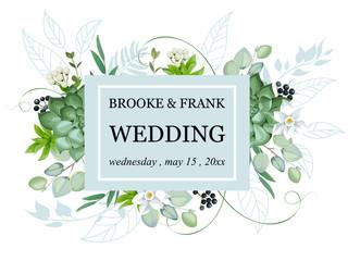 Wedding invitation with foliage