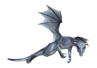 3D Rendering Fantasy Dragon Whelp on White