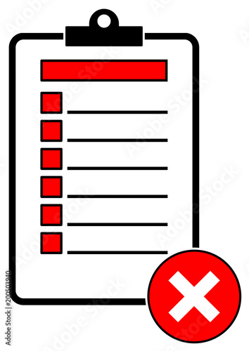 cs10 checkmarksign clipboard checklist paper red not correct