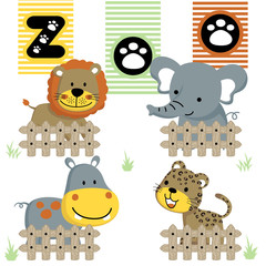 cute animals  cartoon vector in the zoo