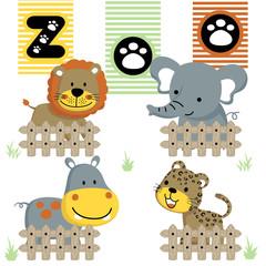 cute animals  cartoon vector in the zoo