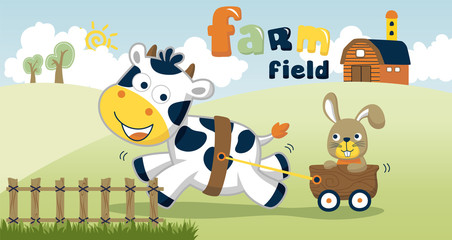 farm field with funny animals cartoon vector