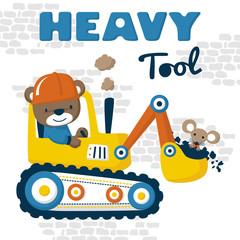 heavy tool cartoon vector with cute driver