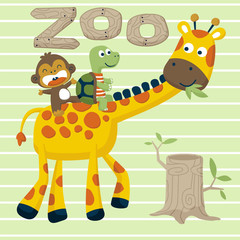 funny animals cartoon on striped background