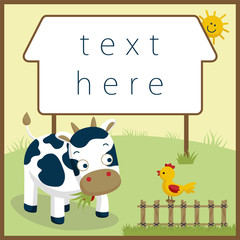 Funny farm animals cartoon. Greeting or invitation card