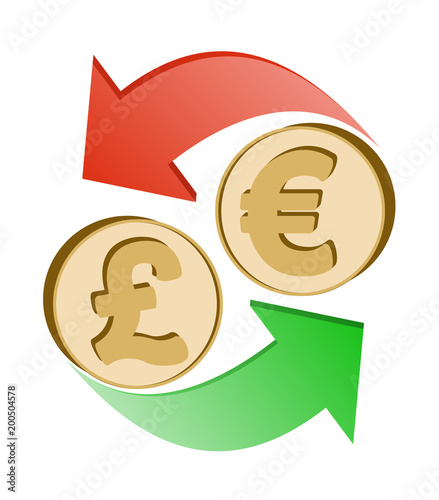 Exchange British Pound To Euro Stock Image And Royalty Free Vector