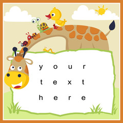 funny animals cartoon vector with paper template. Giraffe, duck, snail, ant, ladybug, caterpillar.