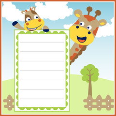 funny animals vector cartoon with paper template on nature background