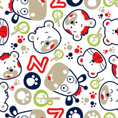seamless vector pattern with funny animals cartoon