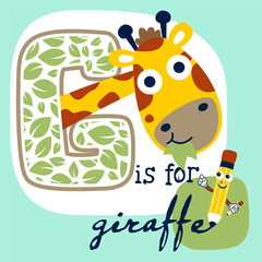 learn with cute giraffe cartoon vector and funny pencil