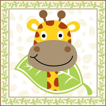 cute giraffe cartoon vector on plants frame