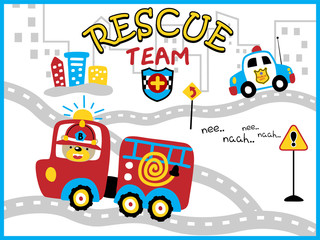 rescue team cartoon vector with funny firefighter