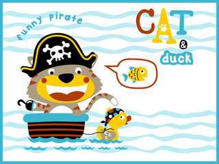 playing pirates with funny animals cartoon vector