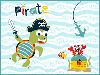 funny pirate cartoon vector underwater with treasure chest