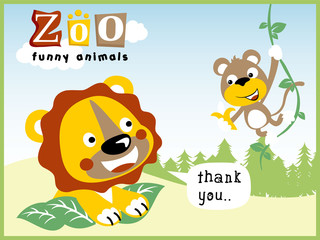 funny zoo life with cute animals cartoon vector