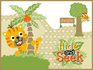 playing hide and seek with funny animals cartoon vector