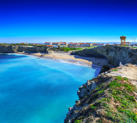 Wonderful romantic afternoon seascape. Coastline cliffs of the Atlantic ocean in Peniche. West coast of Portugal at sunny weather.