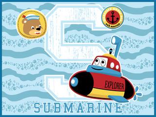 submarine cartoon vector, funny explorer on blue wave background