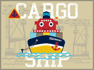 funny cargo ship cartoon vector in the port