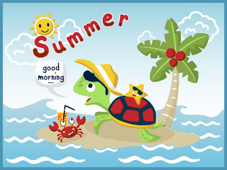 cartoon vector of holiday in the beach with funny turtle and little friends
