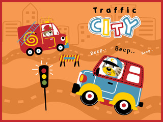 Cartoon vector of city traffic with funny driver. Animals on vehicle, van, firefighter
