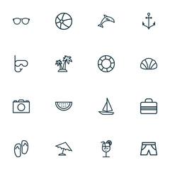 Season icons line style set with dolphin, island, sail boat handbag  elements. Isolated vector illustration season icons.