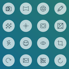 Photo icons line style set with eyesight, reload, lightning and other flare