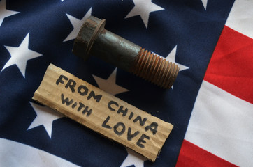 American Chinese Trade War concept. Flag of USA background