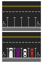 Two pictures. Colored parked cars, road, top view. free places, places for disabled people. illustration